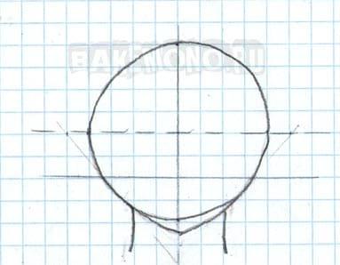 В нижней половине рисуем шею и кривую