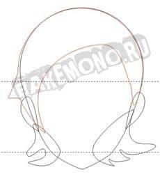 Рисуем ушки и волосы под ушками