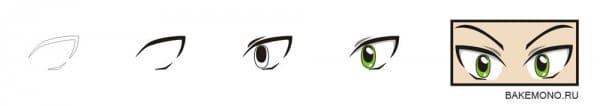 Рисуем аниме глаза разные