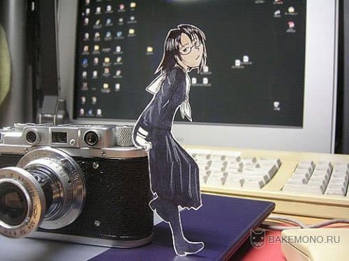 Аниме девушка с фотоаппаратом