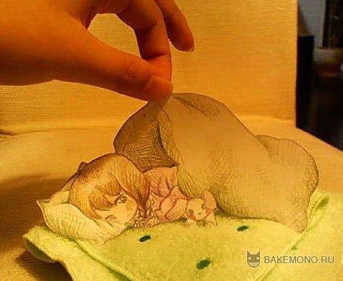 Аниме девушка спит