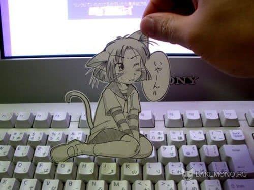 Аниме девушка на клавиатуре