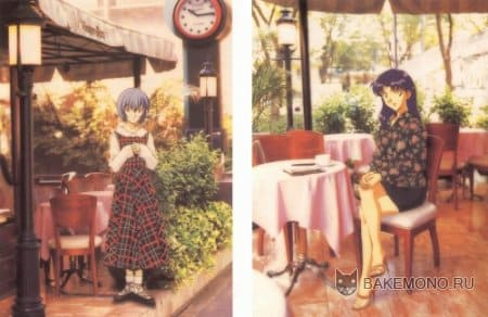 Аниме девушка в кафе