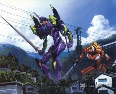 Роботы разрушают город аниме