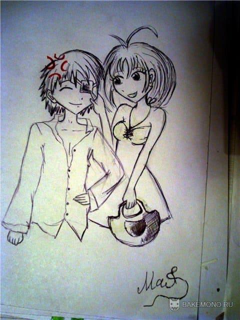 аниме пара, нарисованный фанарт