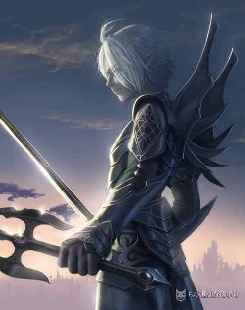 Красивый арт прня с мечом