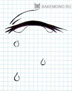 Закрытый глаз ресницами вверх и много набегающих капель