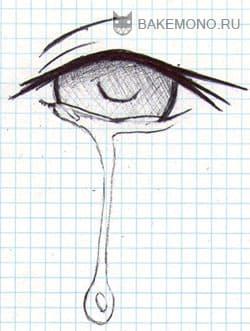 Стекшая слеза из центра глаза
