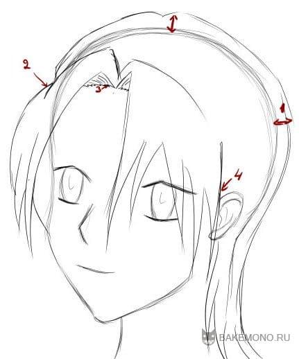 Пряди рисуйте кривыми линиями