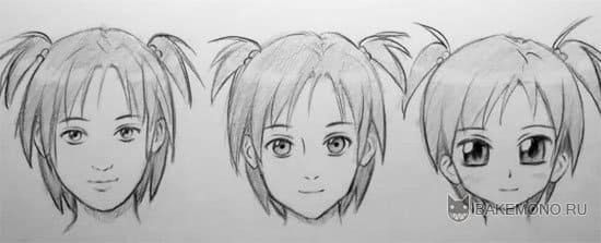 3 стиля рисования аниме лиц