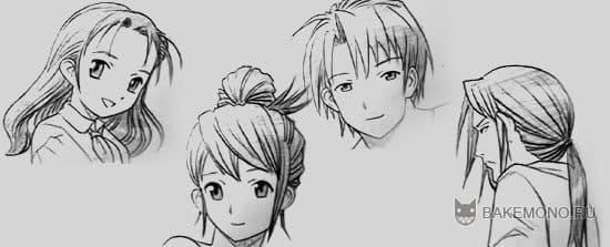 4 вида рисования аниме волос