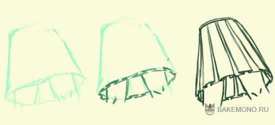 Так же юбку можно рисовать по форме фигуры