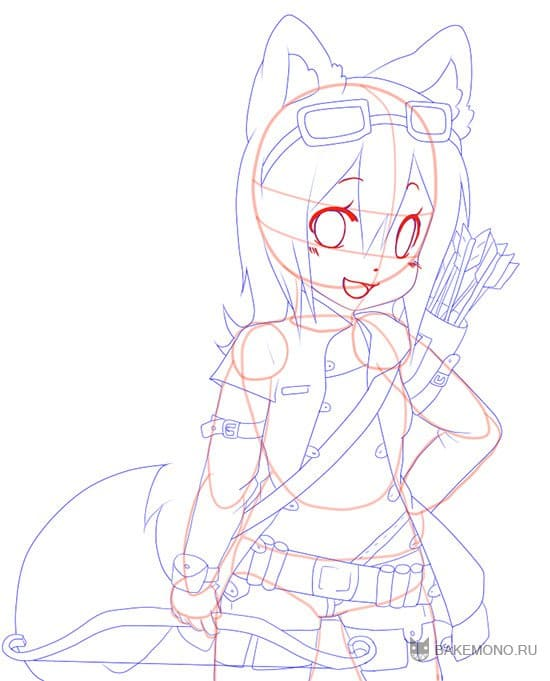 Как рисовать аниме девушку волка