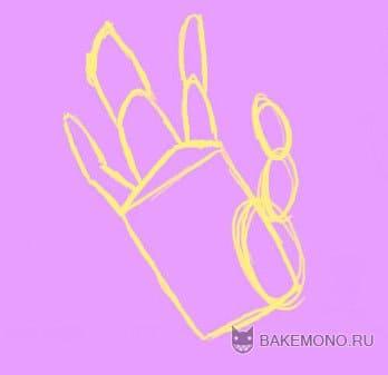 Объединяем в рисунке два средних пальца