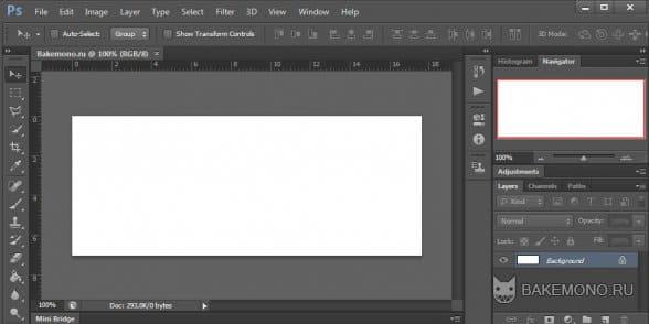 Создадим документ размером 500х300px