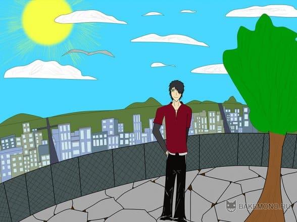 аниме-парень-на-улице