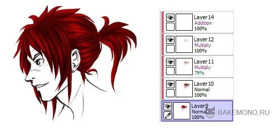 Наложению теней на волосы в paint tool say