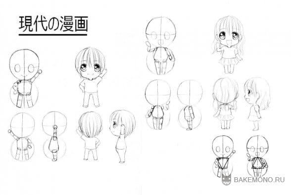 Примеры рисования чиби персонажей