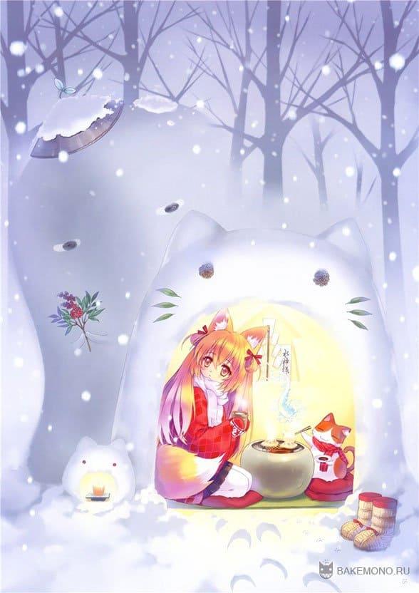 Неко девушка в снежном сугробе из кота