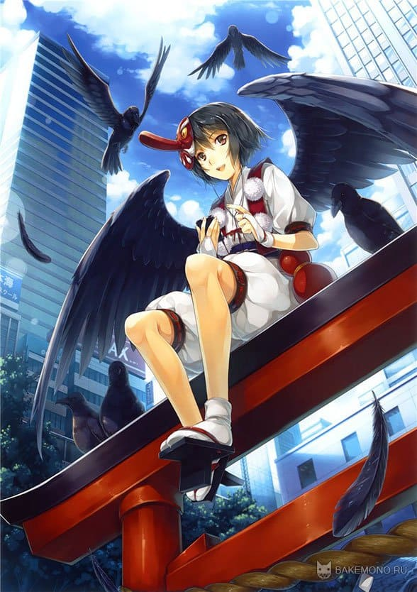 Аниме девушка с крыльями и воронами