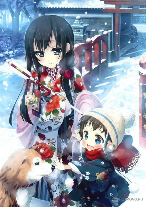Аниме дети зимой с собакой