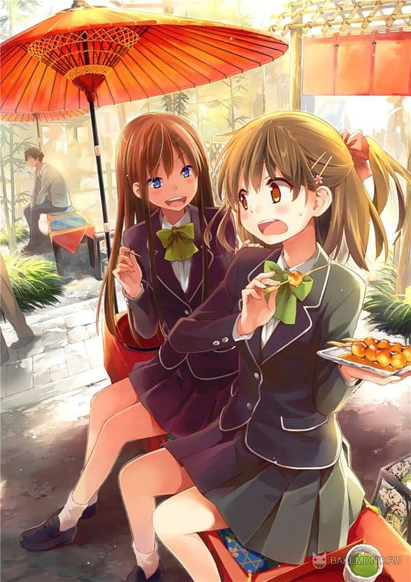Аниме школьницы под оранжевым зонтиком