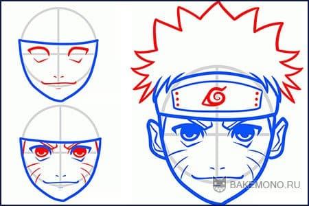 Как просто нарисовать лицо Наруто