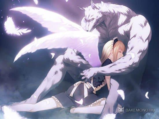 Аниме волк оборотень с девочкой ангелом