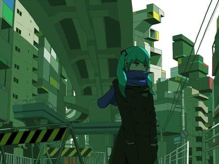 Аниме девушка с зелеными волосами среди города