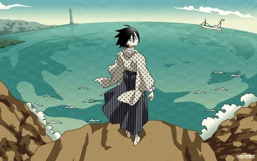 Картинка с персонажем аниме у моря для компьютера