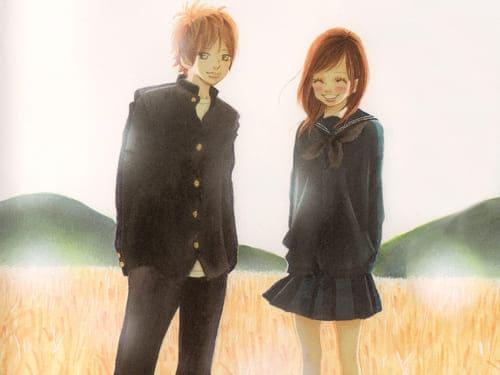 Аниме картинка с мальчиком и девочкой среди поля