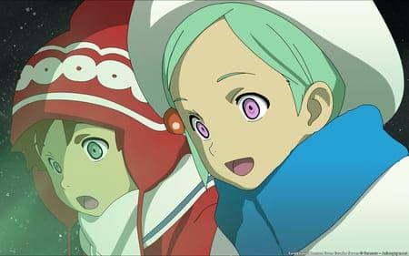 Картинка с двумя аниме девочками в шапках