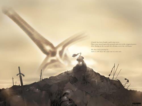 Изображение мечей в земле
