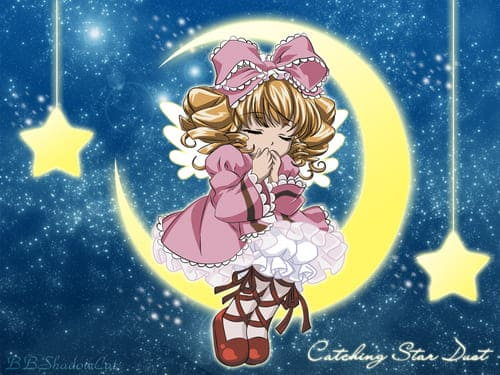 Аниме девочка спит на луне