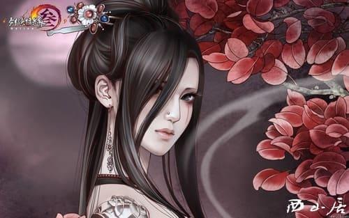 Картинка с девушкой и бордовыми листьями