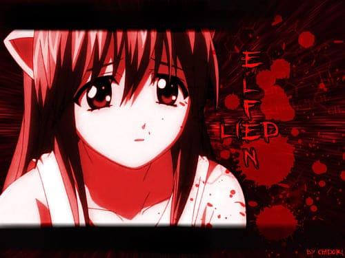 Аниме картинка с девушкой на красном фоне