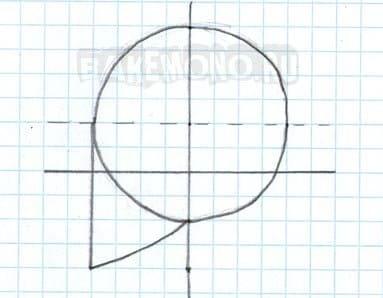 Теперь нарисуем вертикальную линию по центру окружности