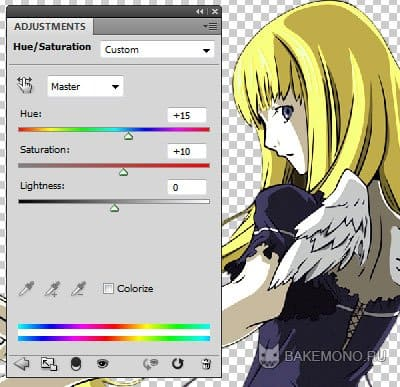 Делаем цвета более светлыми Image /Adjustments/ Hue/Saturation