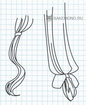 Рисуем Пряди заплетенные в хвост