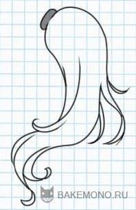 Нарисовать Длинные вьющиеся волосы