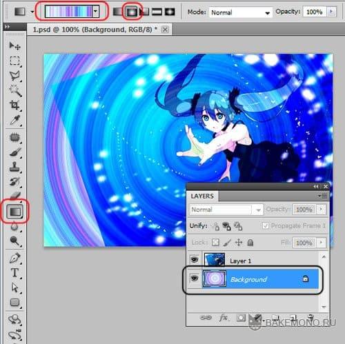 градиент на аниме картинке
