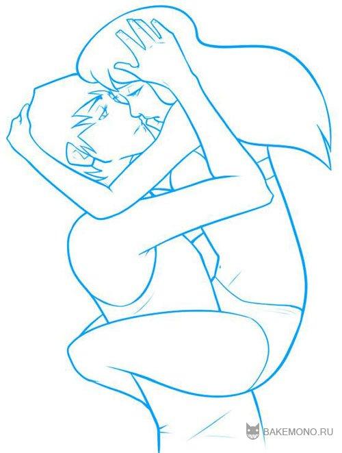 Как рисовать романтическую позу двух