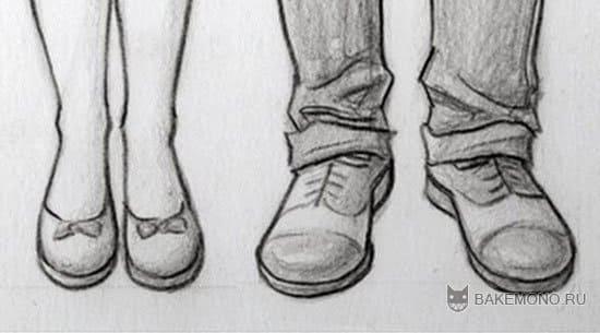 как рисовать аниме туфли: