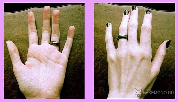 Две фотографии рук, с разных сторон