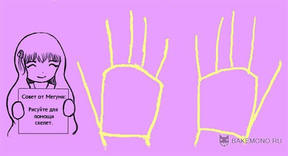 Схематический скелет пальцев для рисования аниме рук