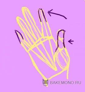 Стороны пальцев не сильно прямые