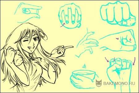 Как рисовать аниме руки.