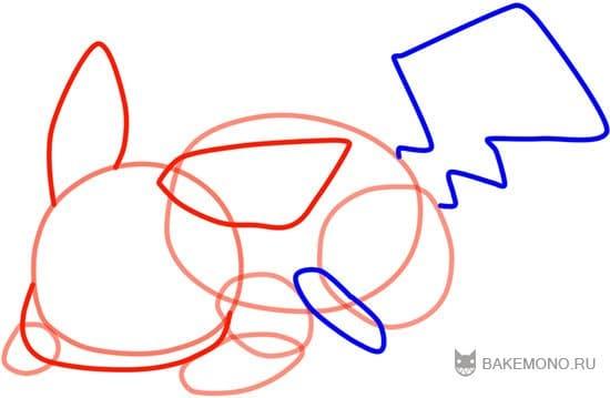 Рисуем характерный хвост Пикачу