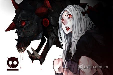 Аниме девушка с монстром
